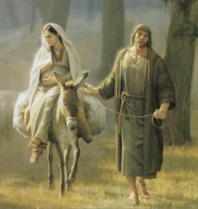 jose-y-maria-sobre-un-burro hacia belen